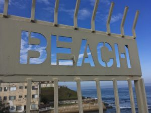 Sign that says Beach
